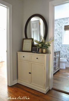This narrow cabinet from #HomeGoods is a great addition for a hallway #sponsored #HappyByDesign #HomeGoodsHappy