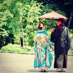 いいお天気となりました!! 素敵な結婚式を♡  #熊本 #結婚式 #熊本結婚式 #和装 #水色 #傘 #和婚 #クローバー熊本