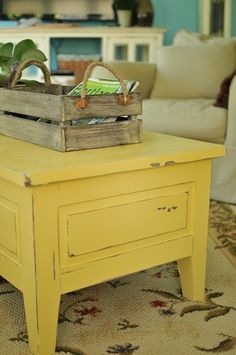 Yellow painted coffee table with woos storage - home decor, handmade table crafts