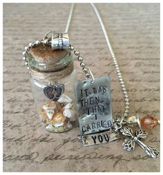 Hand Stamped Necklace~ Jesus~ Cross~ It was then that I carried you~Easter Necklace~