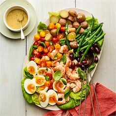 Put a spin on the quintessential French salad with poached shrimp and minced anchovy. Olive Recipes, Bean Recipes, Potato Recipes, Brunch Recipes, Fish Recipes, Seafood Recipes, Salad Recipes, Breakfast Recipes, Nicoise