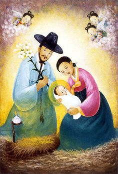 Global Christian Worship - 'The Virgin Mary of Peace' with worldwide children (+ more Korean contextualized Christmas paintings) Christian Images, Christian Art, Religious Paintings, Religious Art, Queen Of Heaven, Christmas Nativity Scene, Blessed Mother Mary, Jesus Art, Jesus Pictures