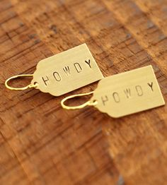 Howdy Stamped Brass Earrings