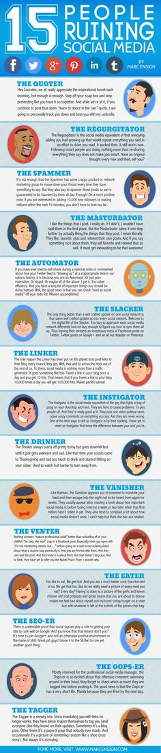 Are you one of these 15 people ruining social media? The Quoter? The Regurgitator? The Spammer? If you're anything like me, you're guilty of at least a few of these! #socialmedia
