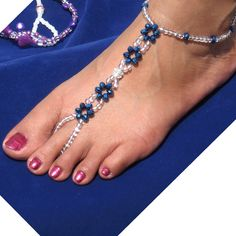 Pair of Hand Made Bare Foot Sandal Bridal & Beach Jewellery Anklet (BFS 8A04001)
