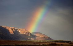 A rainbow rises from the mountains in the West Bank part of the Dead Sea, near the Israeli settlement of Ovnat, on January 28, 2017. The Atlantic