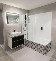 Our latest bathroom display featuring Cementina Posa! Shower Over Bath, Bathroom Ideas, Tiles, Bathtub, Vanity, Display, Instagram, Room Tiles, Standing Bath