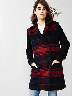 Festive plaid car coat | Gap