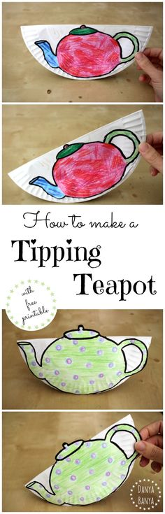 "How to make a tipping teapot craft with free printable. Perfect for a tea party theme, or to go with the nursery rhyme ""I'm a Little Teapot"". Great kids activity for preschool, kindergarten or library story times. ~ Danya Banya"