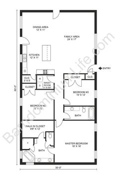 Top 20 Barndominium Floor Plans 3 Bedroom Home Floor Plans, Bungalow Floor Plans, Cottage Floor Plans, Pole Barn House Plans, Small House Floor Plans, Cabin Floor Plans, Dream House Plans, 3 Bedroom Plan, Duplex Floor Plans