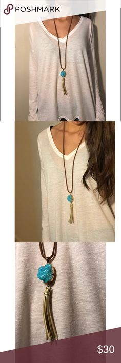 Genuine leather stone necklace Hello poshers! I am starting my new necklace line and am very proud to say this is my first necklace! This genuine leather necklace is 32 inches and the stone/tassel is 7 inches. This necklace is too cute to pass up! Jewelry Necklaces