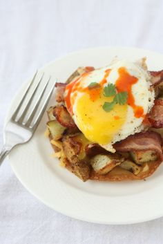 Breakfast Tostadas with Bacon, Potatoes, and Egg
