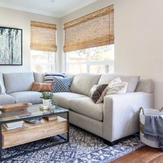 #DiscountLaminateFlooring Beige Couch Decor, White Couch Living Room, Cream Living Rooms, Casual Living Rooms, Transitional Living Rooms, My Living Room, Living Room Decor, Gray Sofa, Cozy Living Rooms