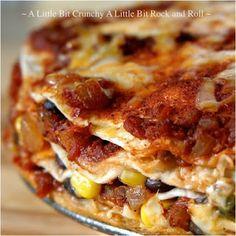 Stacked Black Bean Enchilada Pie