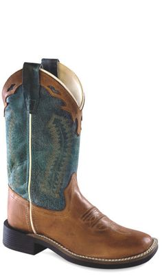 These stylish boys denim blue leather cowboy boots from Old West feature a broad square toe, leather, and flexible tpr outsole. Constructed from high quality le