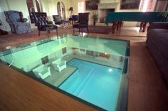 Living room with glass floor looking down into pool! by peterbasilejr Villa, Glass Floor, Expensive Houses, Indoor Swimming Pools, Home Additions, Cool Pools, House Goals, Dream Rooms, Pool Designs