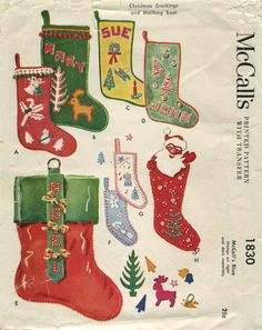 vintage christmas sewing pattern christmas stockings and mailbag boot mccalls 1830 year 1953 stocking sizes 9 15 18 and 20 boot 24 - Pictures Of Decorated Christmas Stockings