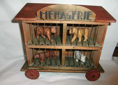 estate /CIRCUS menagerie  pulltoy on  wheel  ealry  c1900 w.composition  animals