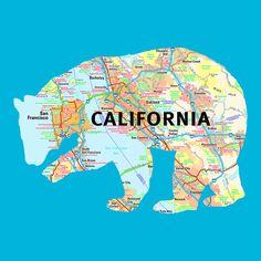Animal Map Cut-Outs // California Bear
