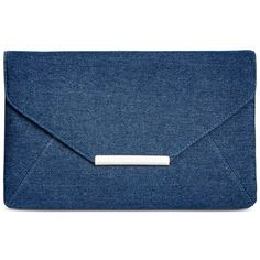 Style & Co. Lily Denim Clutch, (£21) ❤ liked on Polyvore featuring bags, handbags, clutches, dark blue, denim handbags, envelope clutch bag, blue purse, blue handbags and lily purses