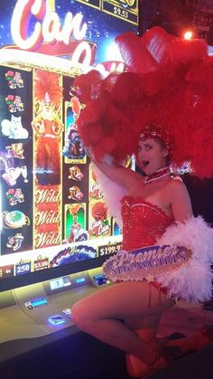 Showgirl and Her Likeness on a Slot  Machine. Global Gaming Expo 2015 Las Vegas.