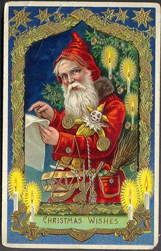 Magical Red Santa Checking His List Gorgeous German Printed Embossed Card Christmas Santa Vintage Antique Postcard Unsent Merry Christmas, Christmas Scenes, Father Christmas, Vintage Christmas Images, Victorian Christmas, Vintage Holiday, Christmas Postcards, Vintage Santa Claus, Vintage Santas