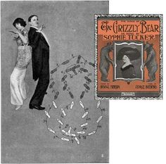"""Some of the dances became huge controversial fads and were banned from respectable establishments. The Grizzly Bear, Bunny Hug and the Turkey Trot in particular were said to have originated about 1906 in the brothels of San Francisco's Barbary Coast and were judged vulgar, bordering on obscene. The very worst of the dances invited """"much twirling and twisting and easy familiarity...in nearly all the men in the way they handle the girls,"""" according to an observer."""