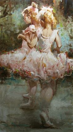"""Kevin Beilfuss - This painting is entitled """"Tiny Dancers"""" and is a 36"""" x 20"""" oil."""