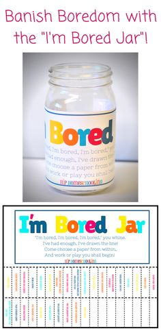 "Are you sick of hearing ""I'm Bored""? Check out this bright and fun Bored Jar. Half simple chores, and half fun, imaginative play ideas, plus some blanks for you to fill in your own (based on your child's age and interests)! Come grab your FREE PRINTABLE! Bored Jar, Im Bored, Bored Kids, Are You Bored, Kids And Parenting, Parenting Hacks, Parenting Goals, Parenting Classes, Imaginative Play"