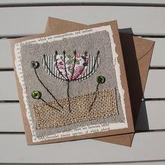 Handmade - Hand Sewn Fabric Blank Card - Botanical Flower – Birthday / Thank You / Get Well