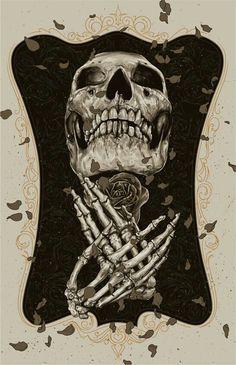 Skull And Rose Illustration Memento Mori, Danse Macabre, Horror, 4 Tattoo, Skeleton Art, Desenho Tattoo, Skulls And Roses, Arte Popular, Skull Tattoos