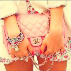 Pink channel side bag
