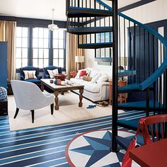 Beautiful Marble Floor Design to Your House: Creative Floor Designs In Living Room With Artistic Picture Decoration Ideas Metal Spiral Stair. Chic Interior, Home, Nautical Home, Coastal Living Rooms, Blue Decor, Painted Floor, Interior Design, Flooring Inspiration, Blue Interior