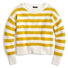 Women's J.crew Textured Stripe Sweater ($70) ❤ liked on Polyvore featuring tops, sweaters, shirts, camisas, sweatshirt, ivory saffron, winter white sweater, stripe sweaters, cotton sweaters and ivory sweater