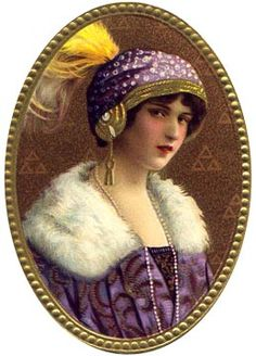 Victorian lady in purple // free victorian graphics / for collage and scrapbooking