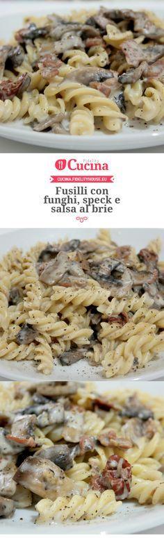 Fusilli con funghi, speck e salsa al brie Fusilli, Wine Recipes, Pasta Recipes, Cooking Recipes, I Love Food, Good Food, Yummy Food, Brie, Salty Foods