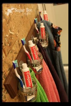 Bathroom Organization Hook Board (follow the link for more details) http://media-cache8.pinterest.com/upload/162833342746938830_xWxbr7Y6_f.jpg sugarbeecrafts projects by me