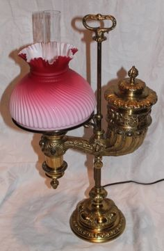 "WOW!!  OUTSTANDING Manhattan Brass Co. ""The Mammoth"" Student Lamp ~ RARE ORIGINAL ""Crimped Top"" Shade and Original Chimney!!"