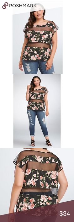 """Torrid Floral Mesh Panel Top Mesh never looked so fresh. This dolman top alternates between bright floral print challis panels and naughty, naughty see-through mesh insets. Sweet meets sexy, this top leaves showing off skin up to you. Made of Polyester/spandex/nylon. Length 25.5"""". Torrid Size 1. torrid Tops"""