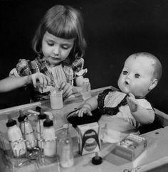 1950s baby doll bottles | Walter Sanders, 1953...remember the hard headed doll, rubber like ...