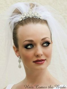 Vintage mini rhinestone bridal tiara with veil by Hair Comes the Bride.
