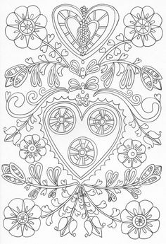 Scandinavian Coloring Book Pg 27 Pattern Coloring Pages, Cute Coloring Pages, Flower Coloring Pages, Coloring Pages To Print, Adult Coloring Pages, Coloring Sheets, Coloring Books, Folk Embroidery, Hand Embroidery Patterns