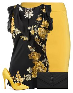 Black and yellow by suzzanne567 on Polyvore featuring polyvore, fashion, style, Roberto Cavalli, H&M, Schutz, Yves Saint Laurent and clothing