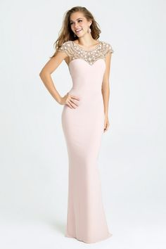 Prom Dresses in Salt Lake City, Utah   2017 Styles   Gateway Bridal & Prom   Worldwide Shipping   16-398   Shimmering gemstones are the focal point of this cap sleeved gown.     Available in Water or Shell Pink