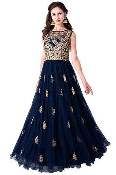 Wedding Dress Gown, Rent KALKI Midnight Blue Embroidered Ethnic Gown at Flyrobe Indian Wedding Gowns, Indian Gowns Dresses, Indian Outfits, Indian Long Gowns, Wedding Dress, Indian Clothes, Party Wedding, Designer Gowns, Indian Designer Wear