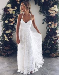 White v neck lace long prom dress, white evening dress wedding dress charming bridal dresses  G205