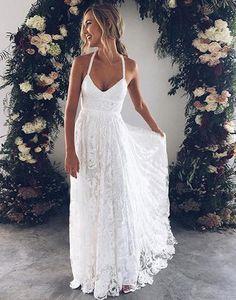 White v neck lace long prom dress, white evening dress wedding dress charming bridal dresses G205