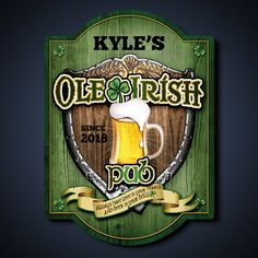 Ole Irish Personalized Pub Sign ($50) ❤ liked on Polyvore featuring home, home decor, wall art, personalized signs, american home decor, beer signs, welcome wall art and personalized welcome signs