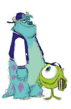 Pixar Concept Art - Mike and Sully (Monster University) Pixar Characters, Drawing Cartoon Characters, Character Drawing, Cartoon Drawings, Character Design, 2d Character, Walt Disney, Disney Pixar, Disney Cartoons