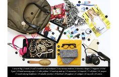 What to Pack: Essentials for Your Carry On // carry-on bag // snacks // scarf // electronic chargers // medicine // magazine // iPad // gum // hand sanitizing wipes // roller perfume // make-up // moisturizer // chapstick // cellphone // passport // valuables (jewelry) // headphones // hairbrush // eyeglasses // cardigan // cozy socks // camera